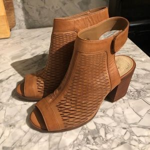 Vince Camuto Lavette Leather Woven Peep Toe Bootie